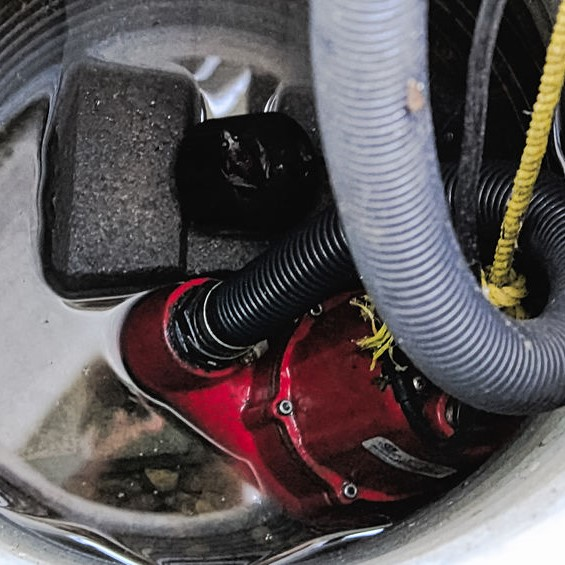 sump pump with water