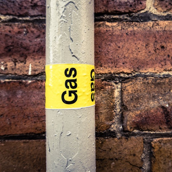 gas pipe with a label