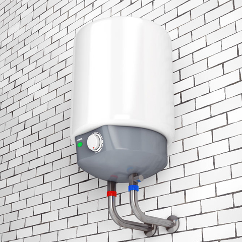 tankless water heater on tile wall